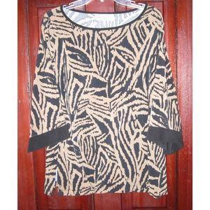 Chico's 3 L XL Stretch Top Tunic Shirt Print USA